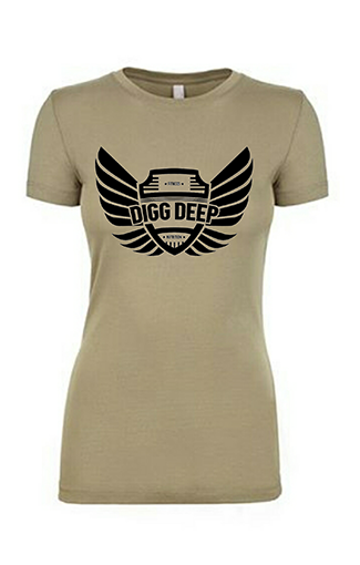 olive tee with black logo