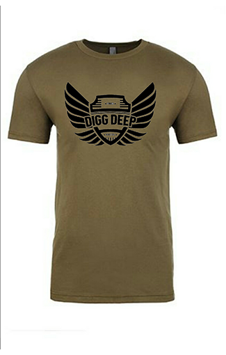 olive green tee with black logo