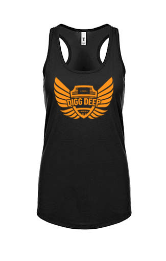 black tank with orange logo