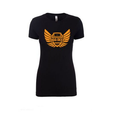 black tee with orange logo
