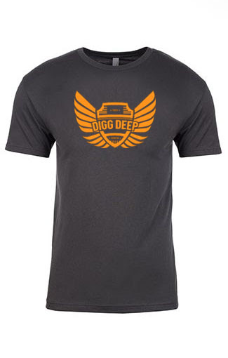 gray men's tee with orange logo