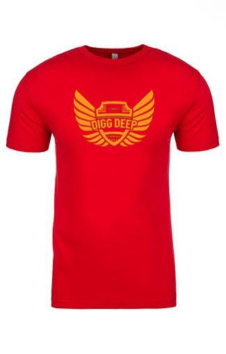 red men's tee with orange logo