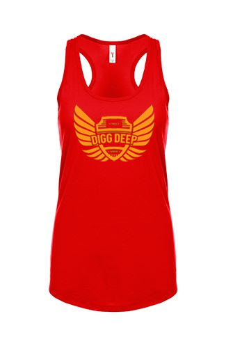 red tank with orange logo