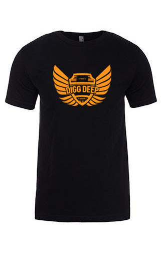 black men's tee with orange logo